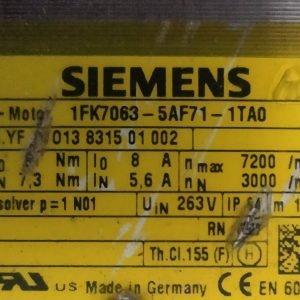 1FK7063-5AF71-1TA0 SIEMENS SIMOTICS S Synchronous servo motor