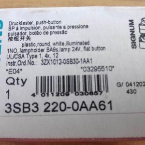 3SB3220-0AA61 SIEMENS 3SB3 Illuminated White Flat Push Button