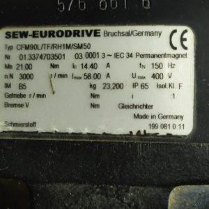 SEW Eurodrive CFM90L/TF/RH1M/SM50 SYNCHRONOUS MOTOR 3000 RPM (USED)