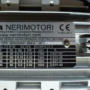NERIMOTORI T80A 0,55KW 1380Rpm + Gearbox CHM-50U i=30